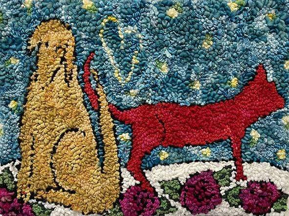 "update alt-text with template Dog loves cat 19"" x 14.5""-Original Rugs-Deanne Fitzpatrick Rug Hooking Studio-Rug Hooking Kit -Rug Hooking Pattern -Rug Hooking -Deanne Fitzpatrick Rug Hooking Studio -Is rug hooking the same as punch needle?"