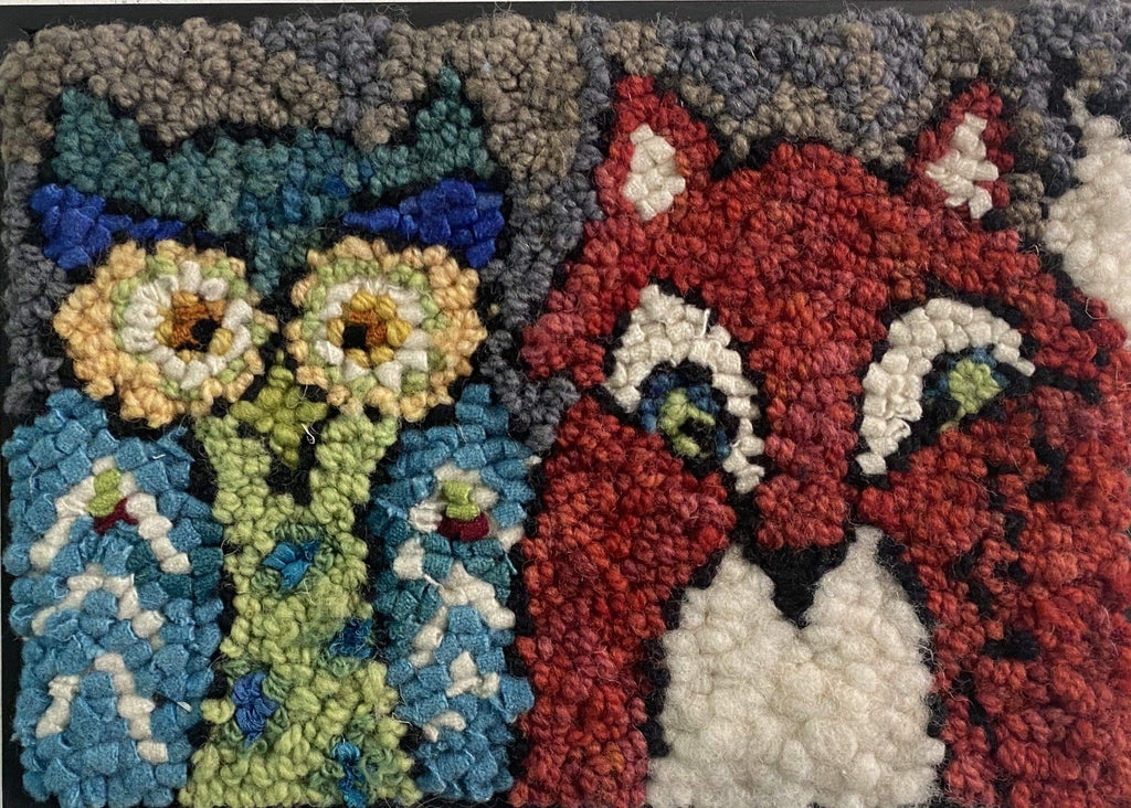 update alt-text with template Fox and Owl Kit Sample 8 by 11-Original Rugs-Deanne Fitzpatrick Rug Hooking Studio-Rug Hooking Kit -Rug Hooking Pattern -Rug Hooking -Deanne Fitzpatrick Rug Hooking Studio -Is rug hooking the same as punch needle?