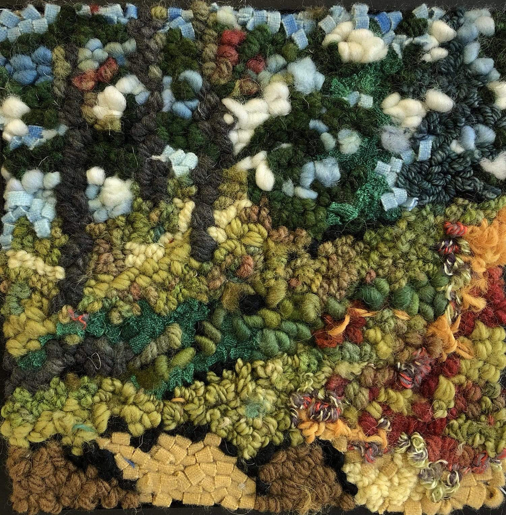 "update alt-text with template Pines on the hill 8"" by 8""-Original Rugs-Deanne Fitzpatrick Rug Hooking Studio-Rug Hooking Kit -Rug Hooking Pattern -Rug Hooking -Deanne Fitzpatrick Rug Hooking Studio -Is rug hooking the same as punch needle?"