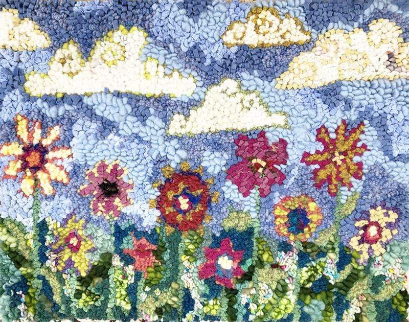 "update alt-text with template Pretty Posies Rug 19.5"" x 15""-Original Rugs-Deanne Fitzpatrick Rug Hooking Studio-Rug Hooking Kit -Rug Hooking Pattern -Rug Hooking -Deanne Fitzpatrick Rug Hooking Studio -Is rug hooking the same as punch needle?"