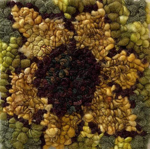 "update alt-text with template Sunflower #1 kit sample 6"" x 6""-Original Rugs-Deanne Fitzpatrick Rug Hooking Studio-Rug Hooking Kit -Rug Hooking Pattern -Rug Hooking -Deanne Fitzpatrick Rug Hooking Studio -Is rug hooking the same as punch needle?"
