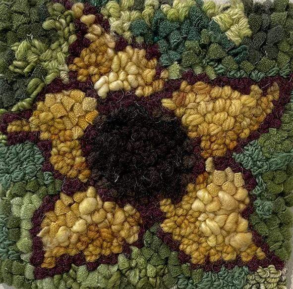 "update alt-text with template Sunflower #2 kit samples 6"" x 6""-Original Rugs-Deanne Fitzpatrick Rug Hooking Studio-Rug Hooking Kit -Rug Hooking Pattern -Rug Hooking -Deanne Fitzpatrick Rug Hooking Studio -Is rug hooking the same as punch needle?"