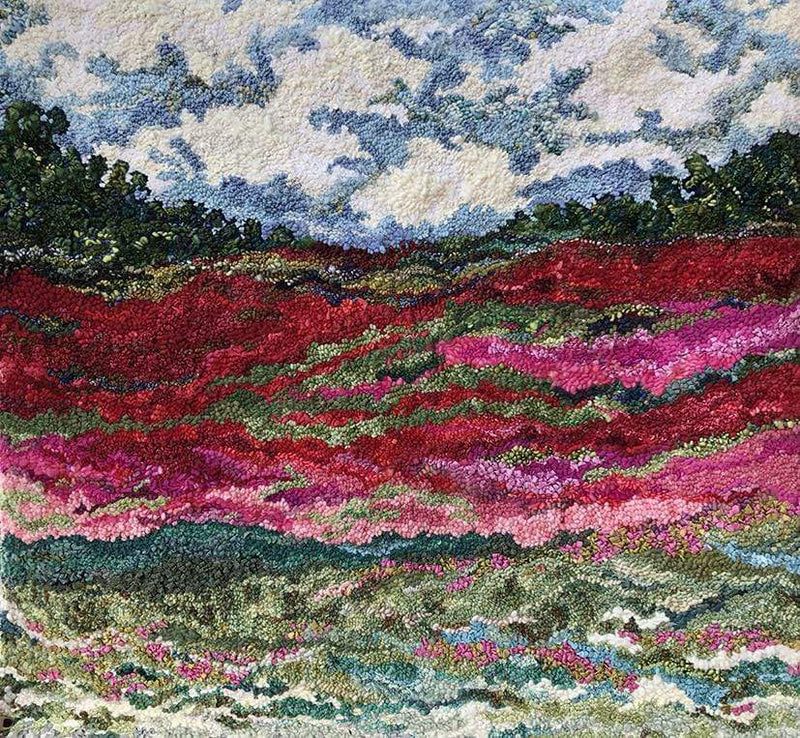 "update alt-text with template Wild Roses Roam 47.5"" x 45""-Original Rugs-Deanne Fitzpatrick Rug Hooking Studio-Rug Hooking Kit -Rug Hooking Pattern -Rug Hooking -Deanne Fitzpatrick Rug Hooking Studio -Is rug hooking the same as punch needle?"