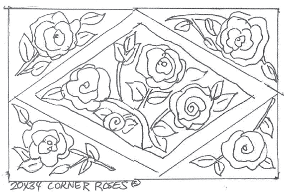 "update alt-text with template A-Corner Roses - Rug Hooking Pattern 24"" x 34""-Patterns-vendor-unknown-Rug Hooking Kit -Rug Hooking Pattern -Rug Hooking -Deanne Fitzpatrick Rug Hooking Studio -Is rug hooking the same as punch needle?"