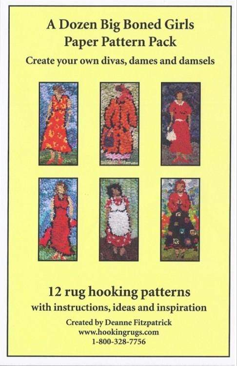 update alt-text with template A Dozen Big Boned Girls Paper Pattern Pack - 12 Rug Hooking Patterns: Full Colour, 15 pages including instructions, ideas, and inspiration. Downloadable product-Patterns-vendor-unknown-Rug Hooking Kit -Rug Hooking Pattern -Rug Hooking -Deanne Fitzpatrick Rug Hooking Studio -Is rug hooking the same as punch needle?