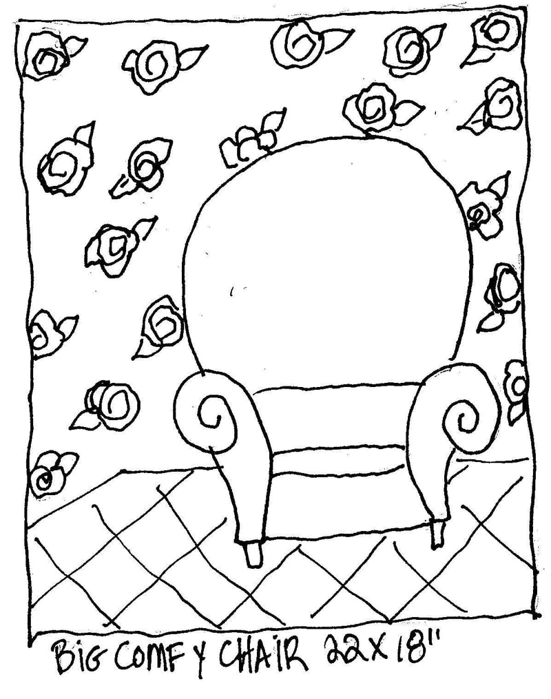 "update alt-text with template Big Comfy Chair - Rug Hooking Pattern 22"" x 18""-Patterns-vendor-unknown-Rug Hooking Kit -Rug Hooking Pattern -Rug Hooking -Deanne Fitzpatrick Rug Hooking Studio -Is rug hooking the same as punch needle?"