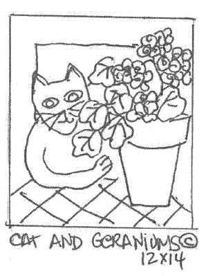 "update alt-text with template Cat & Geraniums - Rug Hooking Pattern 12"" x 14""-Patterns-vendor-unknown-Rug Hooking Kit -Rug Hooking Pattern -Rug Hooking -Deanne Fitzpatrick Rug Hooking Studio -Is rug hooking the same as punch needle?"
