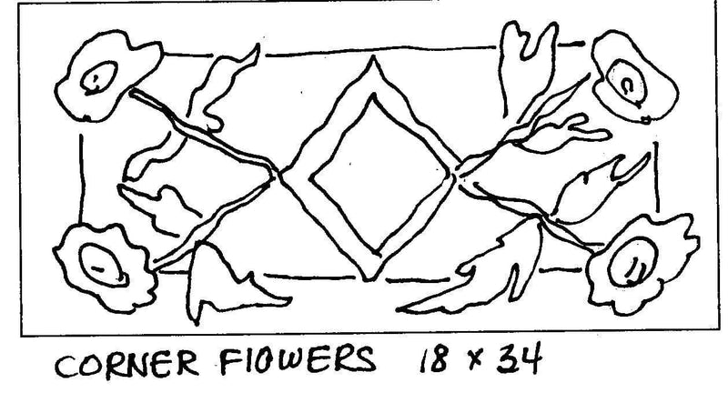 "update alt-text with template Corner Flowers - Rug Hooking Pattern 18"" x 34""-Patterns-vendor-unknown-Rug Hooking Kit -Rug Hooking Pattern -Rug Hooking -Deanne Fitzpatrick Rug Hooking Studio -Is rug hooking the same as punch needle?"