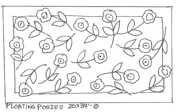 "update alt-text with template Floating Posies - Rug Hooking Pattern 20"" x 34""-Patterns-vendor-unknown-Rug Hooking Kit -Rug Hooking Pattern -Rug Hooking -Deanne Fitzpatrick Rug Hooking Studio -Is rug hooking the same as punch needle?"