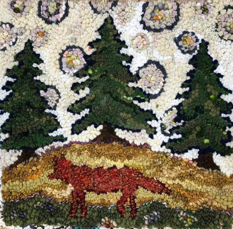 "update alt-text with template Fox and Pine Rug Hooking Pattern 16"" x 16""-Patterns-Deanne Fitzpatrick Rug Hooking Studio-Rug Hooking Kit -Rug Hooking Pattern -Rug Hooking -Deanne Fitzpatrick Rug Hooking Studio -Is rug hooking the same as punch needle?"