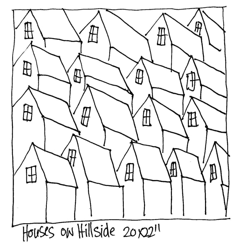 "update alt-text with template Houses on Hillside - Rug Hooking Pattern 20"" x 22""-Patterns-vendor-unknown-Rug Hooking Kit -Rug Hooking Pattern -Rug Hooking -Deanne Fitzpatrick Rug Hooking Studio -Is rug hooking the same as punch needle?"