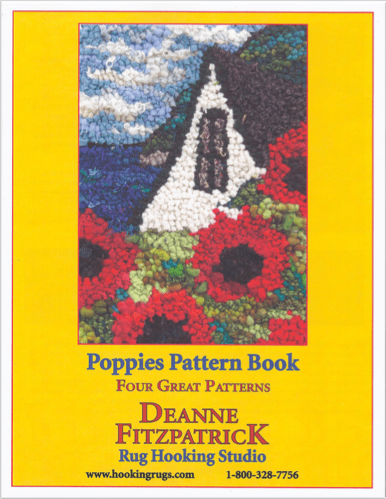 update alt-text with template Poppies Pattern Book - Four Great Patterns: Full Colour, 16 pages + full-page large printable images downloadable product-Patterns-vendor-unknown-Rug Hooking Kit -Rug Hooking Pattern -Rug Hooking -Deanne Fitzpatrick Rug Hooking Studio -Is rug hooking the same as punch needle?