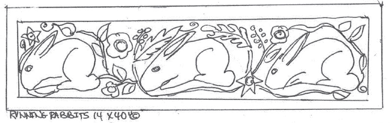 "update alt-text with template Running Rabbits - Rug Hooking Pattern 14"" x 40""-Patterns-vendor-unknown-Rug Hooking Kit -Rug Hooking Pattern -Rug Hooking -Deanne Fitzpatrick Rug Hooking Studio -Is rug hooking the same as punch needle?"