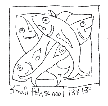 "update alt-text with template Small Fish School - Rug Hooking Pattern 13"" x 13""-Patterns-vendor-unknown-Rug Hooking Kit -Rug Hooking Pattern -Rug Hooking -Deanne Fitzpatrick Rug Hooking Studio -Is rug hooking the same as punch needle?"