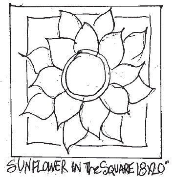 "update alt-text with template Sunflower in the Square - Rug Hooking Pattern 18"" x 20""-Patterns-vendor-unknown-Rug Hooking Kit -Rug Hooking Pattern -Rug Hooking -Deanne Fitzpatrick Rug Hooking Studio -Is rug hooking the same as punch needle?"