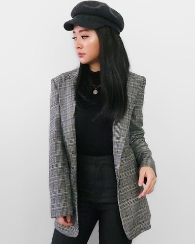 Checked Blazer - Grey [韓國女裝] - STYLEITNRY