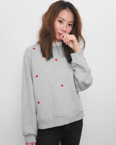 Sweet Heart Embroidery Blouse Hem Sweater - Grey | STYLEITNRY