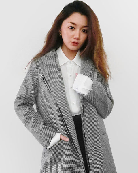 Zip Details Long Coat - Grey [韓國女裝] - STYLEITNRY