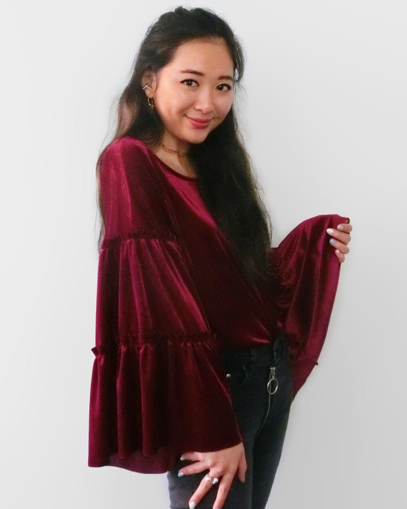 Velvet Bell Sleeves Top - Wine Red | STYLEITNRY