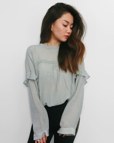 Blue Grey Pleated Sweater | STYLEITNRY