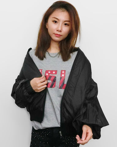 Pleated Sleeves Bomber Jacket - Black | STYLEITNRY