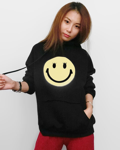 Smiley Face with Lashes Hoodie - Black | STYLEITNRY