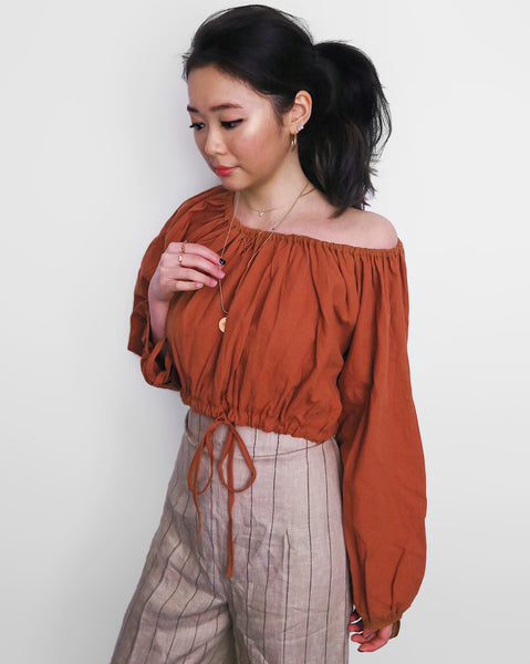 Linen Off-Shoulder Cropped Top - Burnt Orange [韓國女裝] - STYLEITNRY