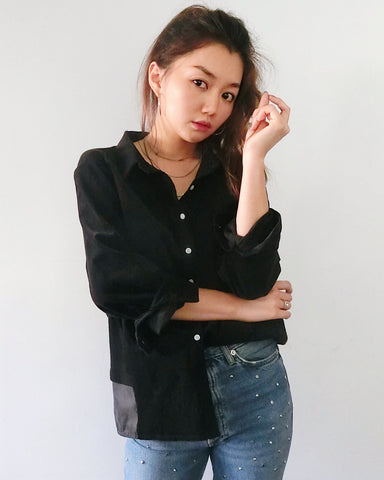Velvet and Mixed Media Collar Shirt - Black | STYLEITNRY