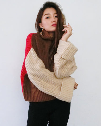 Colour Block Chunky Knit - Brown, Nude and Red [韓國女裝] - STYLEITNRY