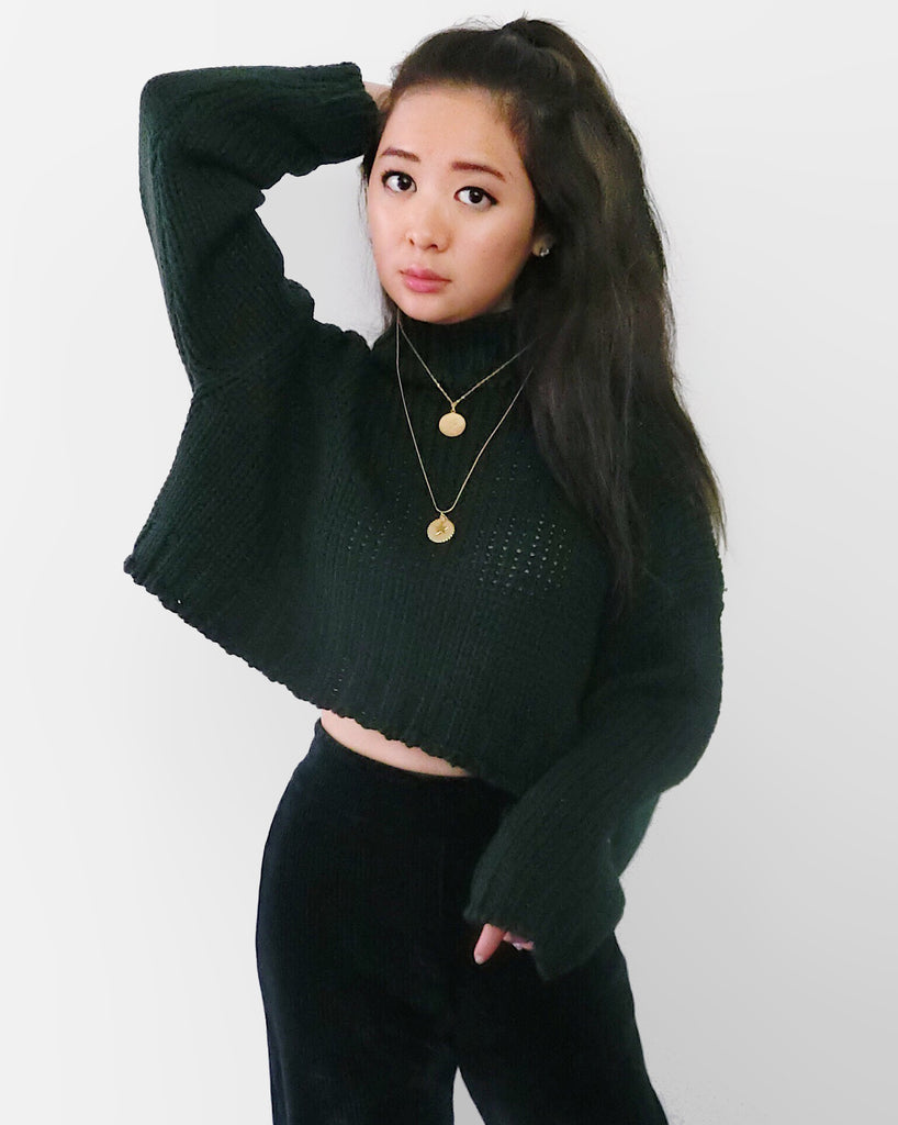 Cropped Chunky Knit Top - Forest Green [韓國女裝] - STYLEITNRY