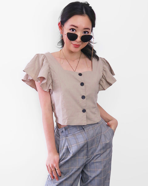 Button-down Flare Sleeves Cropped Top - Khaki [韓國女裝] - STYLEITNRY