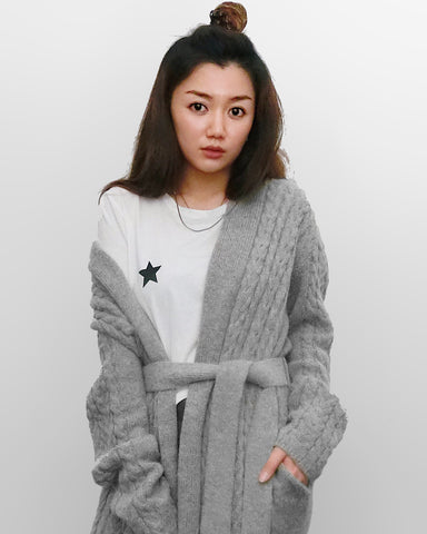 Grey Long Knitted Cardigan | STYLEITNRY