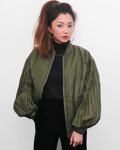 Pleated Sleeves Bomber Jacket - Army Green | STYLEITNRY