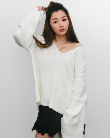 Oversized Chunky Cozy Knit Top - Cream White | STYLEITNRY