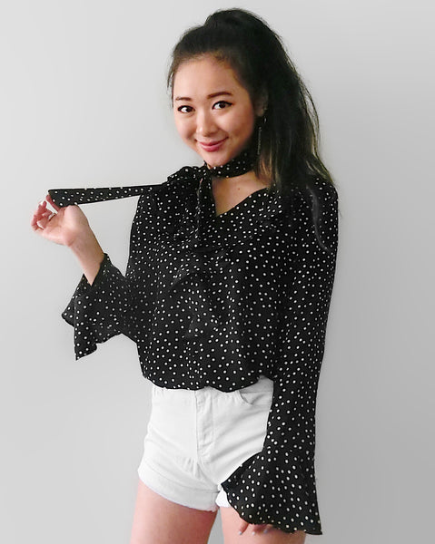 Silky Polkadot Blouse with Neck Tie - Black | STYLEITNRY