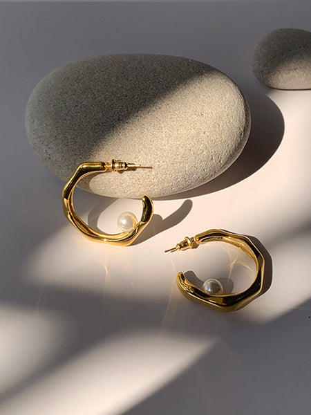 Pearl Stopper Hoops