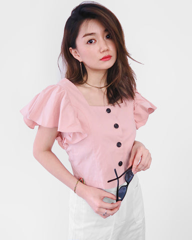 Button-down Flare Sleeves Cropped Top - Pink [韓國女裝] - STYLEITNRY