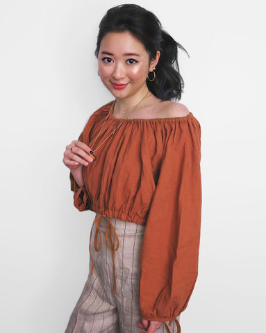 Linen Off-Shoulder Cropped Top - Burnt Orange | STYLEITNRY