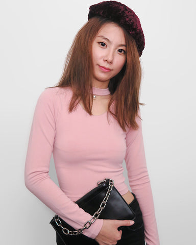 Pearl Choker Cropped Top - Pink | STYLEITNRY