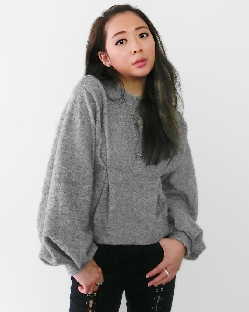 Semi-Cropped Teddy Jumper - Grey [韓國女裝] - STYLEITNRY