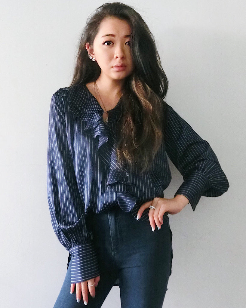 Silky Striped Blouse with Ruffles - Navy | STYLEITNRY