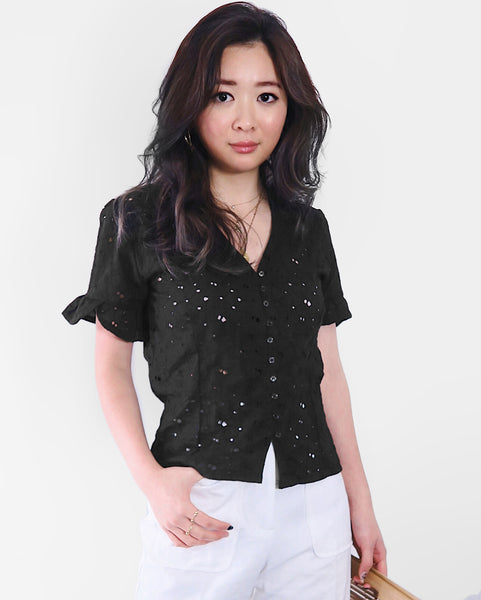 Eyelet Broderie Top - Black | STYLEITNRY