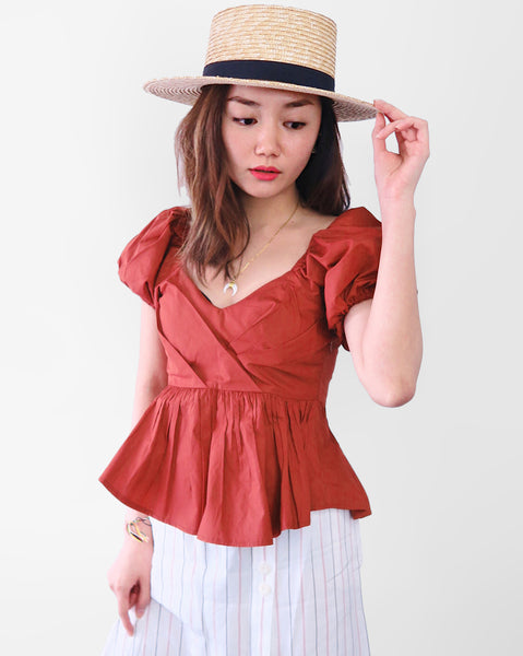 Puff Sleeves Peplum Top - Burnt Orange | STYLEITNRY