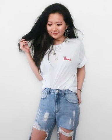 Lover Embroidered Tee - White [韓國女裝] - STYLEITNRY