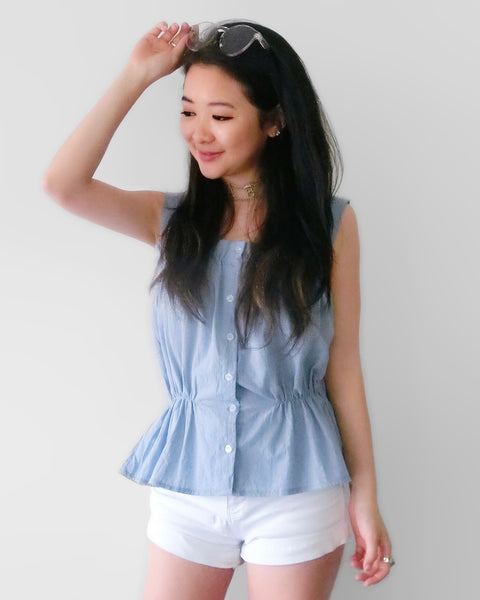 Dusty Blue Cami with Cinched-in Waist | STYLEITNRY
