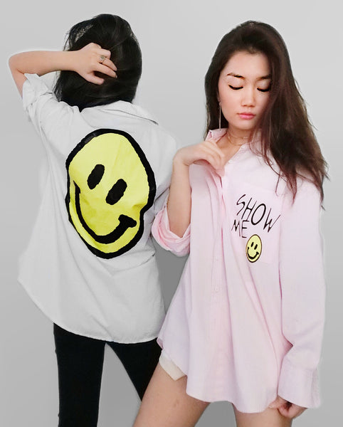 Smiley Oversized Collar Shirt - White | STYLEITNRY