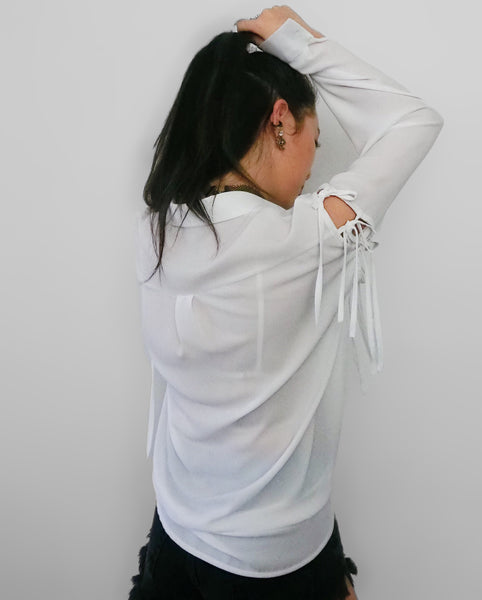 Blouse with Tied Ribbon Sleeves - White | STYLEITNRY