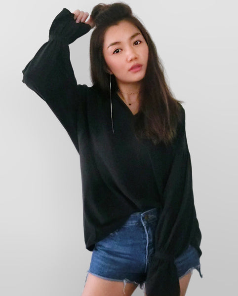 Back Buckle Blouse - Black | STYLEITNRY