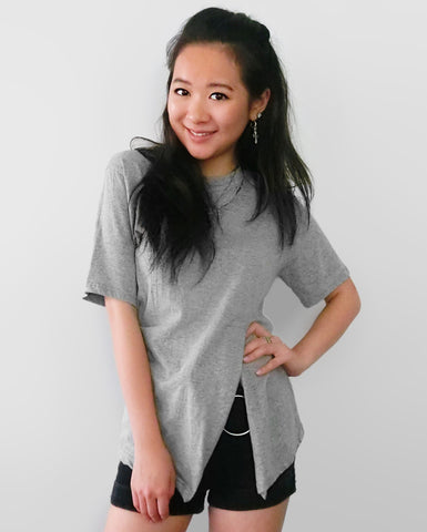 Side Split Detail T-Shirt - Grey [韓國女裝] - STYLEITNRY