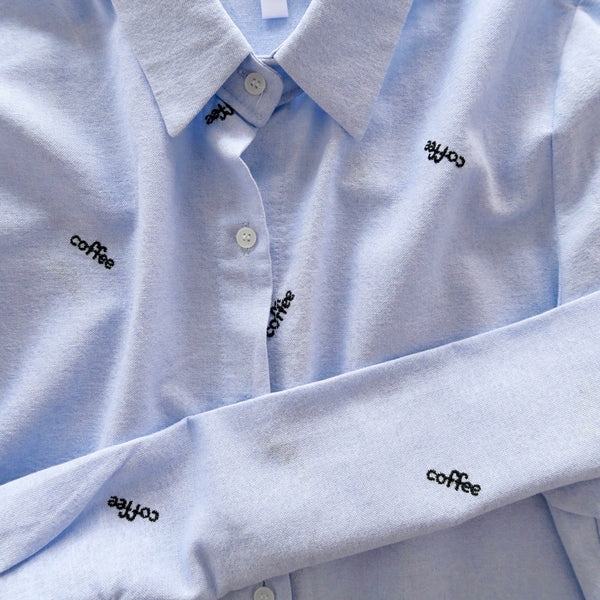 Coffee Hand Embroidered Collar Shirt - Blue [韓國女裝] - STYLEITNRY